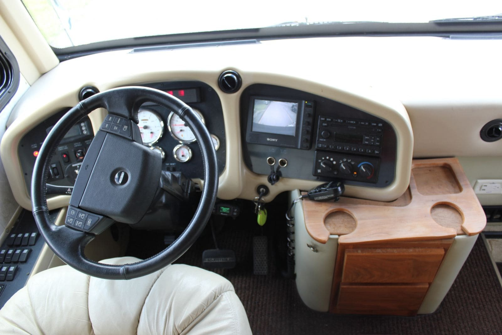 (Sample) The driver's seat of the 2005 Tiffin Allegro Bus